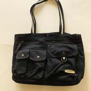 Roots Black Canvas Tote, GUC